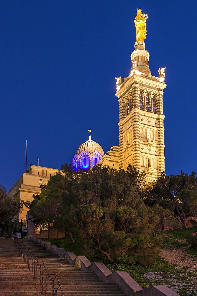 Illuminated Notre Dame de la Garde church at dusk, Marseille, Bouches du Rhone, Provence, France, Europe