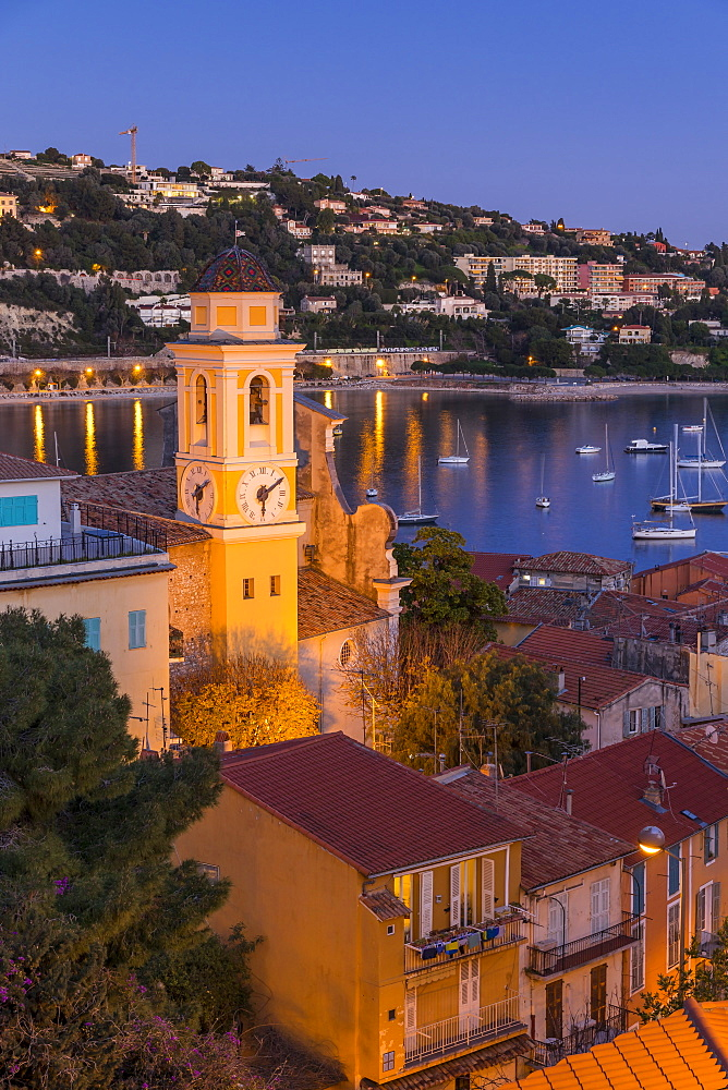 Illuminated Saint-Michel Church at dusk, Villefranche sur Mer, Alpes Maritimes, Cote d'Azur, French Riviera, France, Europe - 1283-985