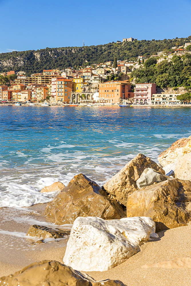 View from Les Marinières Beach to the old town, Villefranche sur Mer, Cote d'Azur, French Riviera, France, Europe