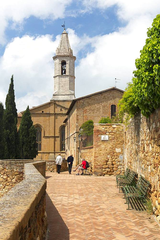 A street and view of the Cathedral tower in Pienza, UNESCO World Heritage Site, Tuscany, Italy, Europe - 1284-124