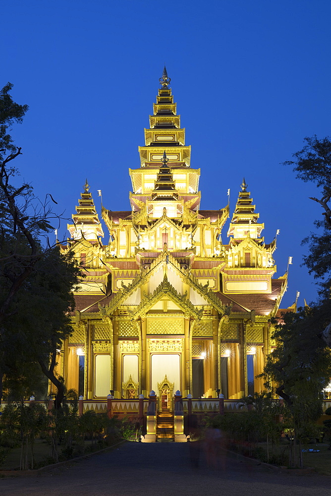 Bagan Golden Palace after sunset, Bagan, Myanmar (Burma), Asia
