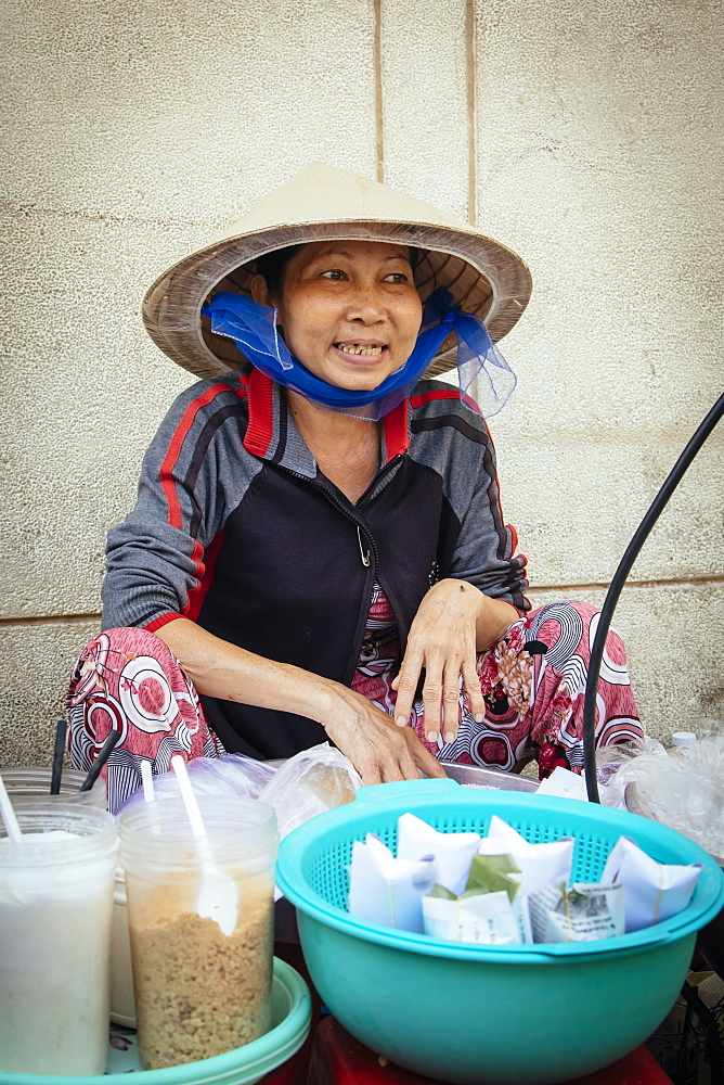 Vietnamese woman cooking on the street, Ho Chi Minh City, Vietnam, Indochina, Southeast Asia, Asia - 1286-45