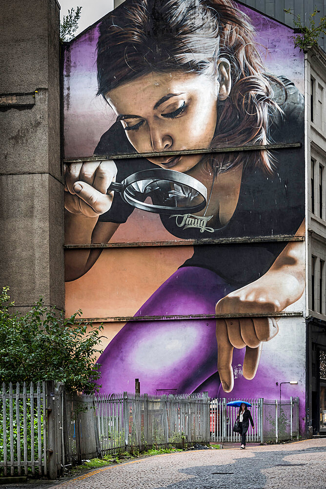 Street art, large murals, part of the very first City Centre Mural Trail, are all in one easy walking route, Glasgow, Scotland, United Kingdom, Europe