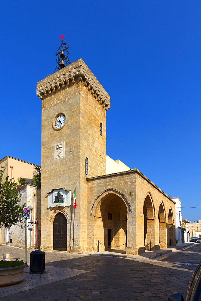 The clock tower, Ugento, Puglia, Italy, Europe