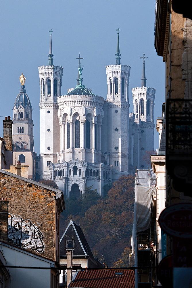 Basilique Notre-Dame de Fourviere, Lyon, Auvergne-Rhone-Alpes, France, Europe