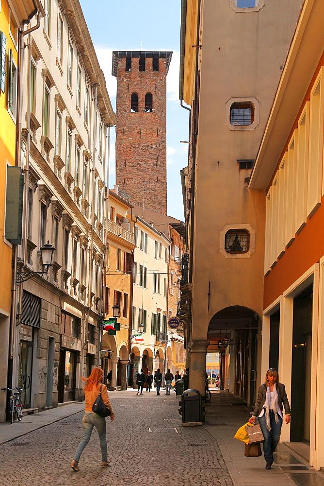 Torre degli Anziani from the Via Marsilio da Padova, Padua, Veneto, Italy, Europe - 1292-1484