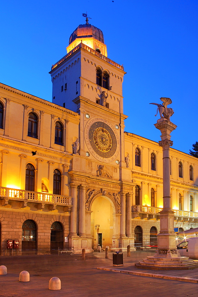 The Astronomical clock at dusk, Piazza dei Signori , Padua, Veneto, Italy, Europe
