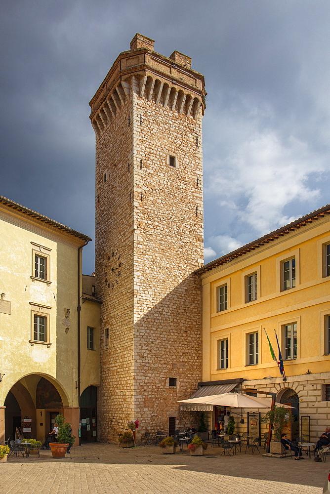 Piazza Mazzini, Trevi, Perugia, Umbria, Italy, Europe