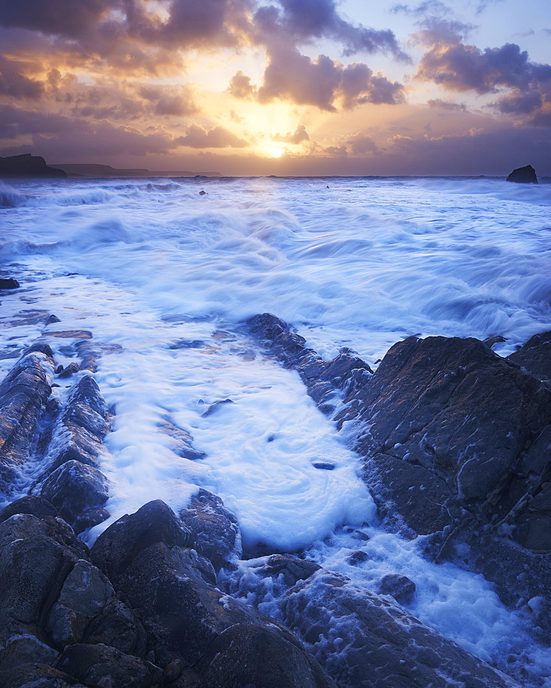 Sunrise in a fierce winter storm at Mupe on the Jurassic Heritage Coast, UNESCO World Heritage Site, Dorset, England, United Kingdom, Europe
