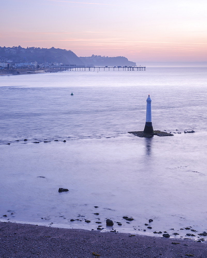 Early morning looking to Teignmouth with the Navigation mark at the entrance to the River Teign, viewed from Shaldon, Devon, England, United Kingdom, Europe - 1295-22