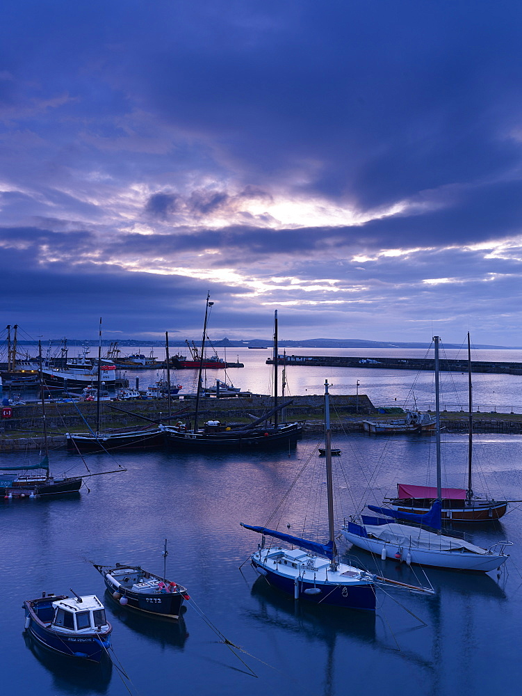 Spring twilight across the harbour at the fishing port of Newlyn, Cornwall, England, United Kingdom, Europe - 1295-302