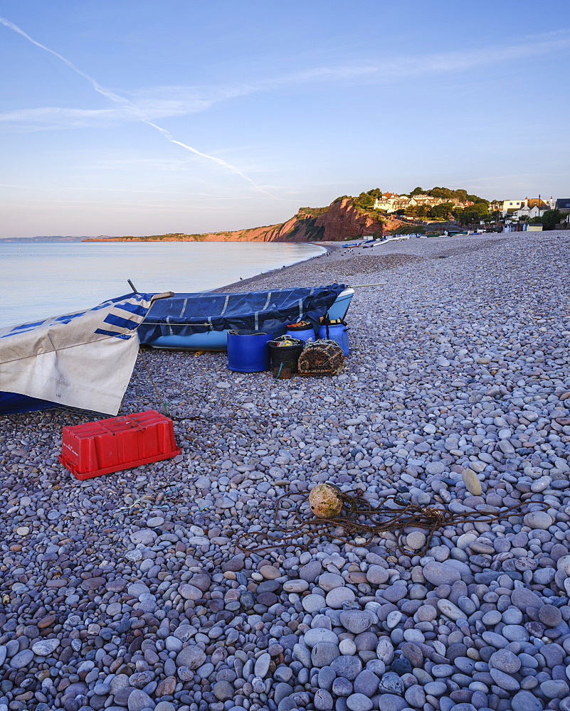 Fishing boats and gear on the pebbled beach at Budleigh Salterton, Devon, England, United Kingdom, Europe - 1295-31