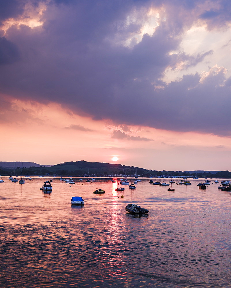 Sun sets over Starcross across the River Exe, Exmouth, Devon, England, United Kingdom, Europe - 1295-43