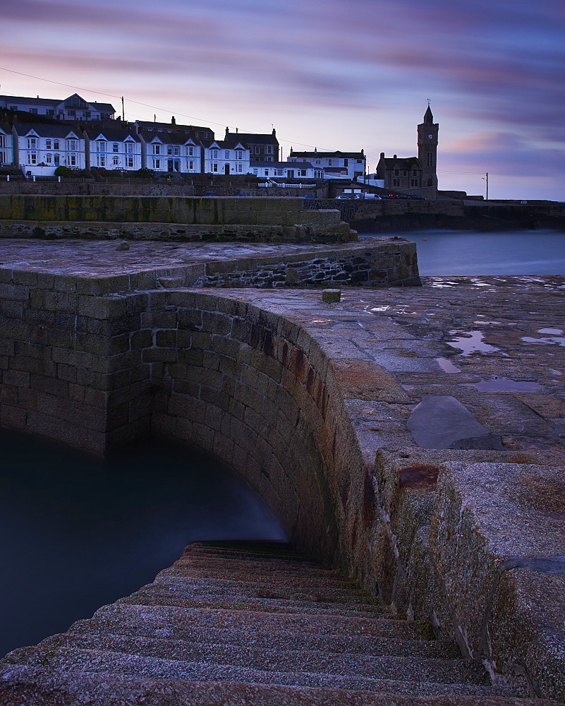 Early morning on the harbour side at Porthleven in Cornwall, UK.