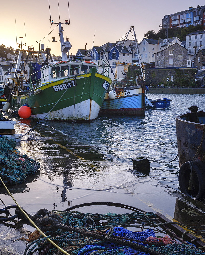 High tide at dawn in the harbour of the fishing port of Brixham, Devon, England, United Kingdom, Europe - 1295-53