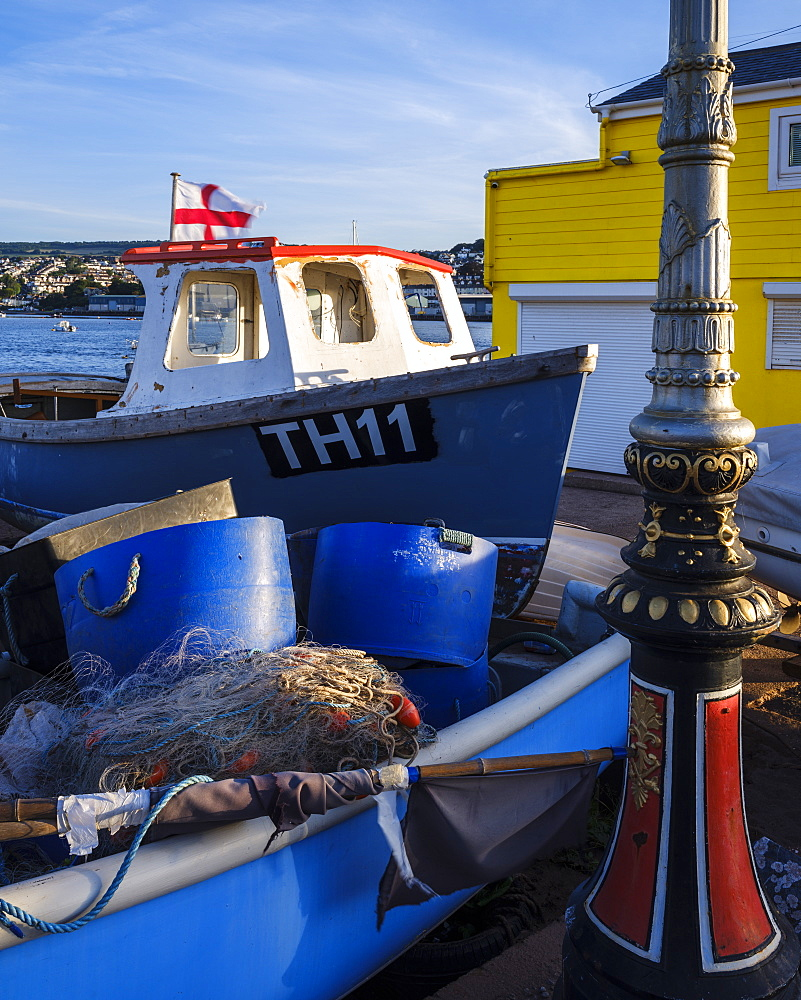 Fishing boat, nets and pots at The Point, Teignmouth, Devon, England, United Kingdom, Europe - 1295-64
