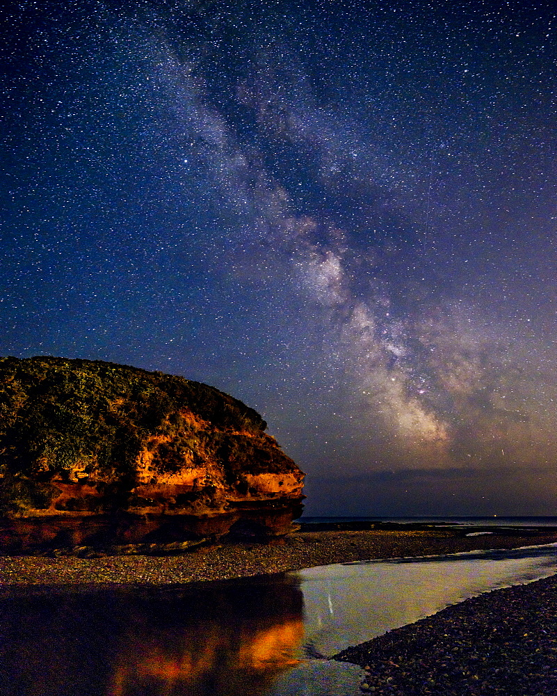 Milky Way to the right of Otter Head and River Otter at Budleigh Salterton, Devon, England, United Kingdom, Europe - 1295-66
