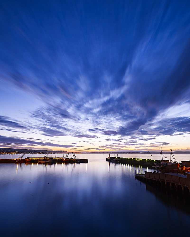 Dawn twilight across the harbour of the fishing port of Newlyn in Cornwall, England, United Kingdom, Europe - 1295-7