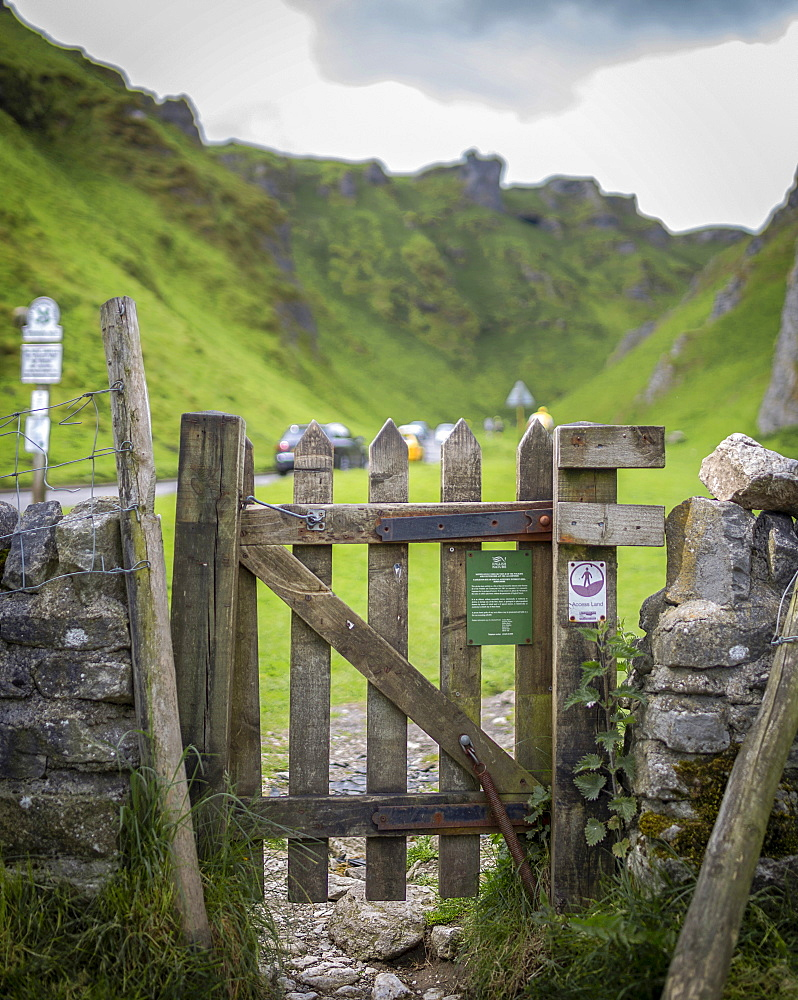 A gate to Winatts Pass, Peak District, Derbyshire, England, United Kingdom, Europe - 1296-20