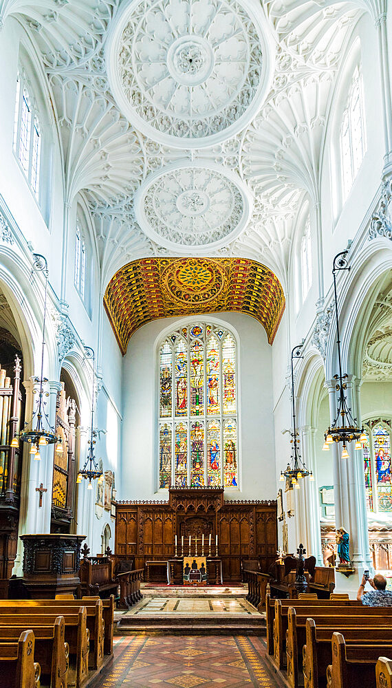 Interior of St Mary Aldermary Church in the City of London, London, England, United Kingdom, Europe