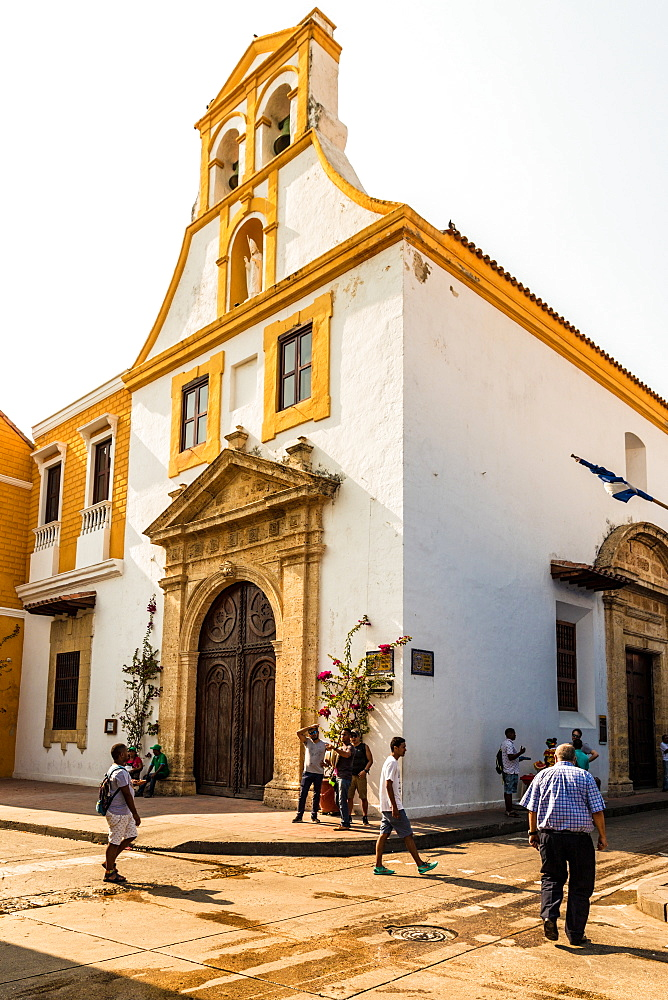 A view of the Church of Santo Toribio in the old town in Cartagena, Colombia, South America.