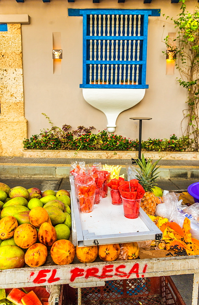 Fresh fruit for sale on the street in Getsemani in Cartagena, Colombia, South America