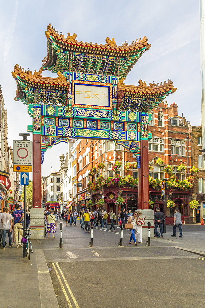 A view of the gate leading to Chinatown in Soho, London, England, United Kingdom, Europe. - 1297-213