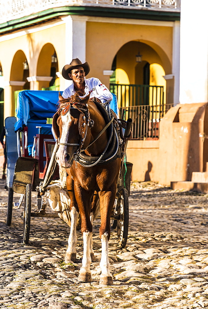 A traditional horse taxi carriage in Trinidad, Cuba, West Indies, Central America