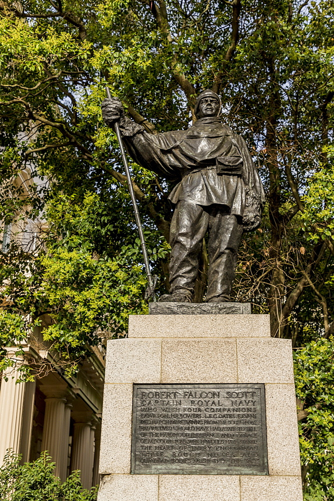 The Captain Robert Falcon Scott statue in Waterloo Place, St. James, London, England, United Kingdom, Europe