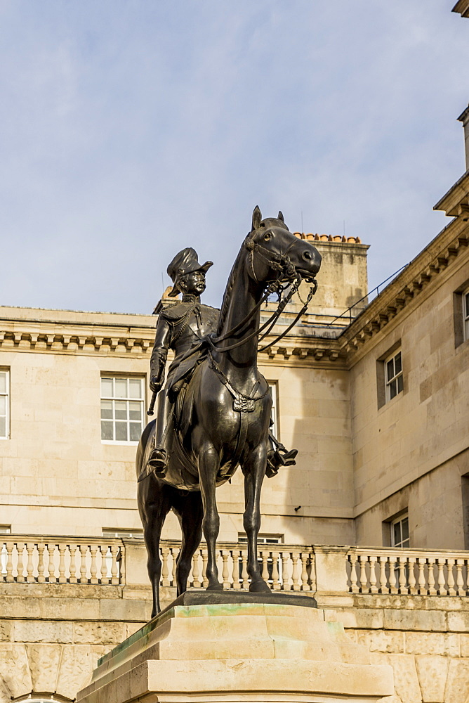 A statue of Viscount Wolseley on Horse Guards Parade ground, London, England, United Kingdom, Europe