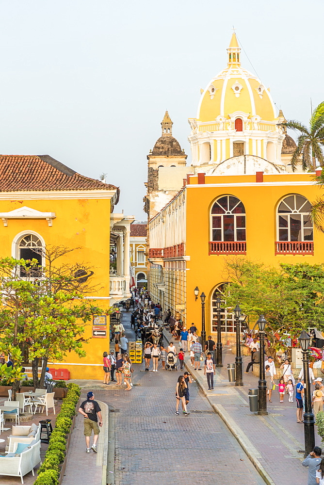 A typical street view in Cartagena de Indias, Colombia, South America