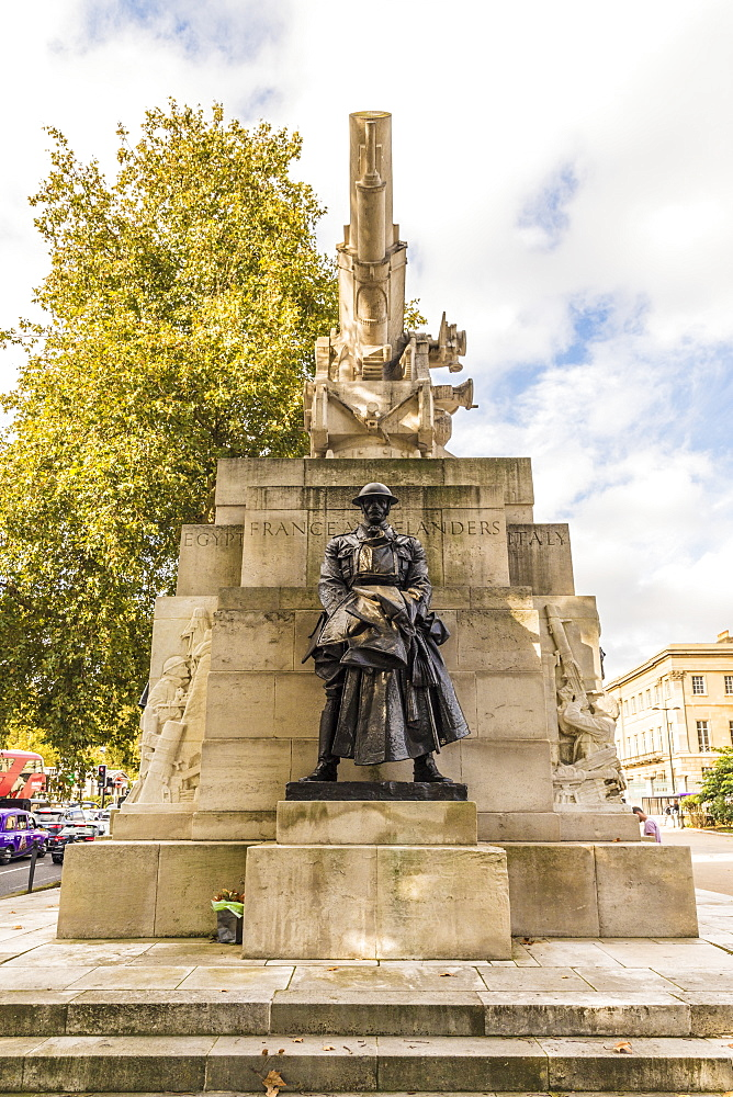 A bronze statue of the artillery captain on the Royal Artillery Memorial, on Hyde Park Corner, London, England, United Kingdom, Europe