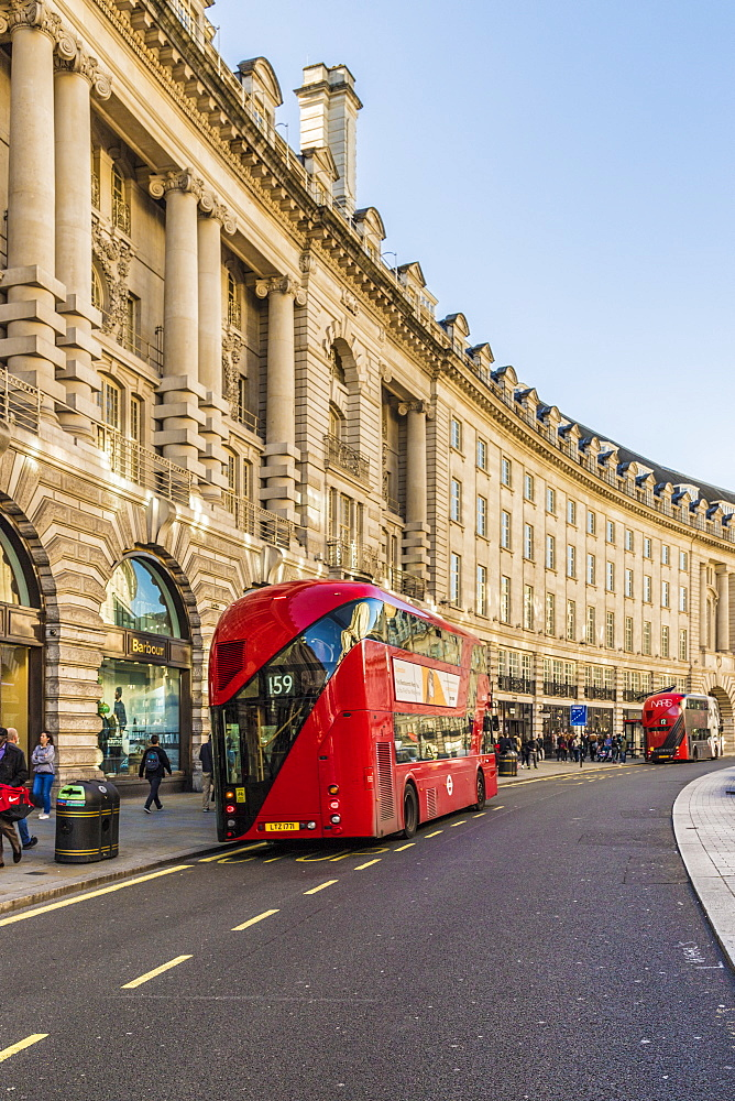 A red London bus on Regent Street, London, England, United Kingdom, Europe