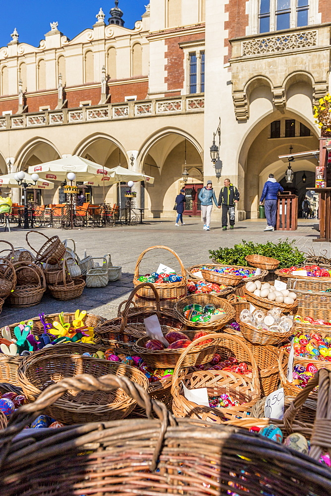 A market scene in the main square, Rynek Glowny, in the medieval old town, UNESCO World Heritage Site, Krakow, Poland, Europe