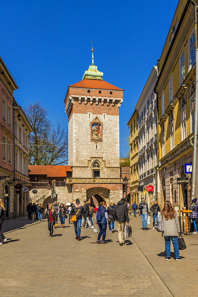 St. Florians Gate in the medieval old town, UNESCO World Heritage Site, in Krakow, Poland, Europe