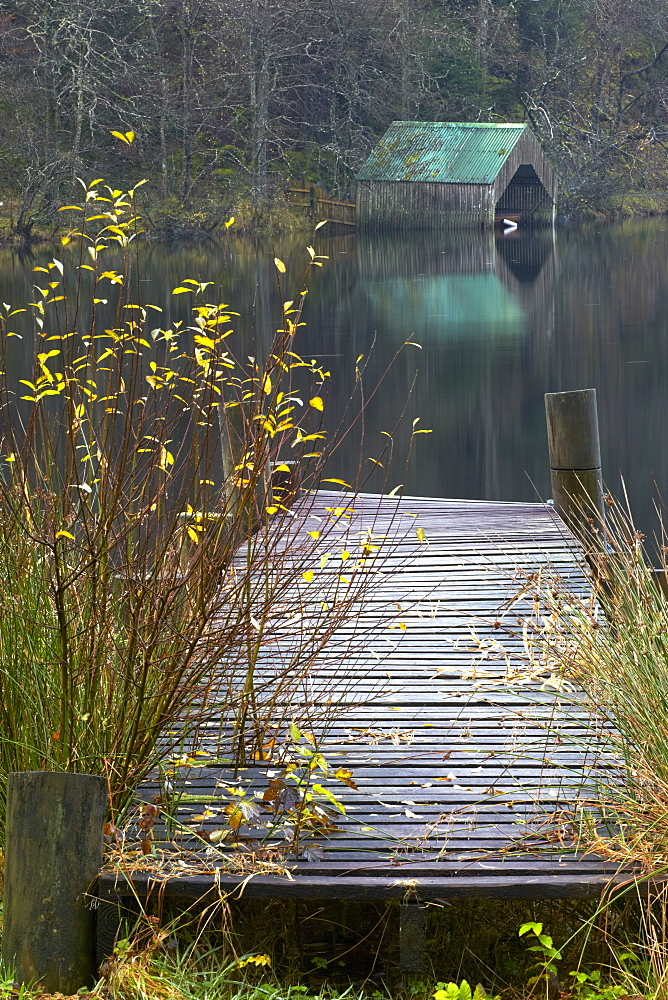 Boathouse and jetty at Milton Basin near Aberfoyle, Loch Ard, The Trossachs, Stirlingshire, Scotland, United Kingdom, Europe