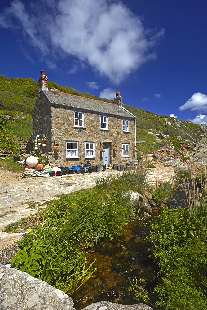 A fisherman's cottage at Penberth Cove, Cornwall, England, , United Kingdom, Europe - 1298-51