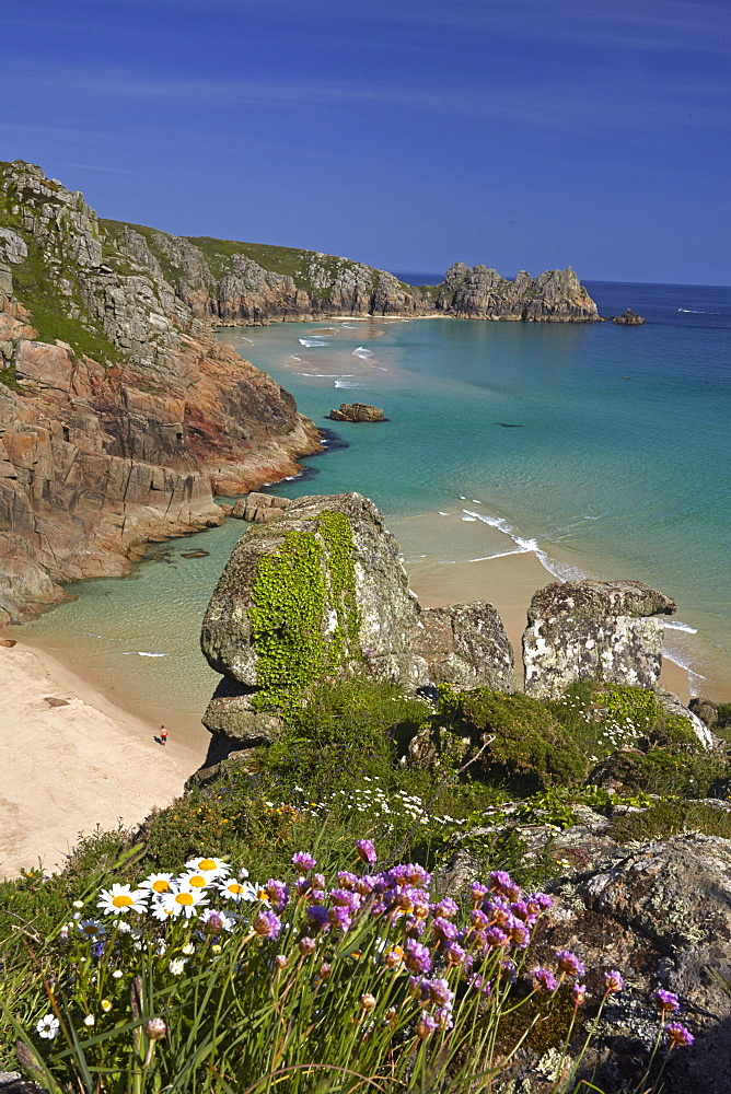 Pednvounder Beach and Treen Cliffs at Porthcurno, Cornwall, England, United Kingdom, Europe