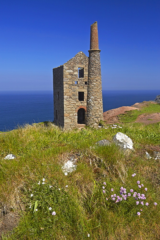 The ruins of Wheal Owles tin mine on the cliff tops near Botallack, Cornwall, England, United Kingdom, Europe