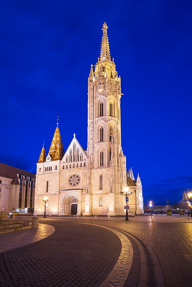 Matthias Church at night, Buda Castle Hill, Budapest, Hungary, Europe