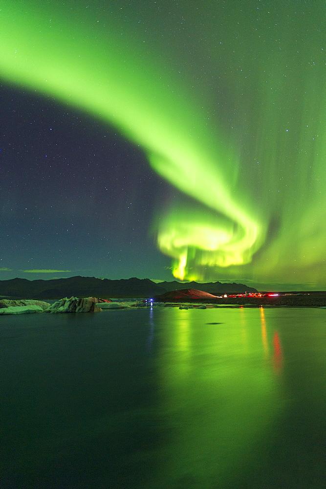 Aurora Borealis (Northern Lights) display over Jokulsarlon Glacial Lagoon, South Iceland, Iceland, Polar Regions