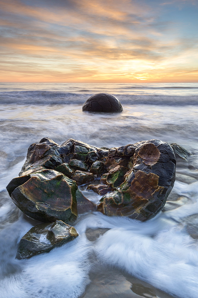 Exposed boulder at Moeraki Beach, Otago, South Island, New Zealand, Pacific