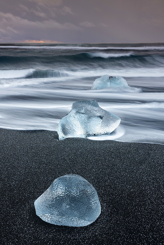Ice formations on ice beach at Jokulsarlon, Iceland, Polar Regions