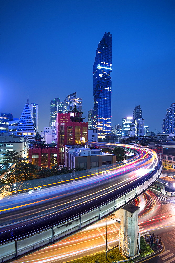 BTS skytrain and Mahanakhon building in background at Silom Road, Bangkok business district, Bangkok Thailand, Southeast Asia, Asia