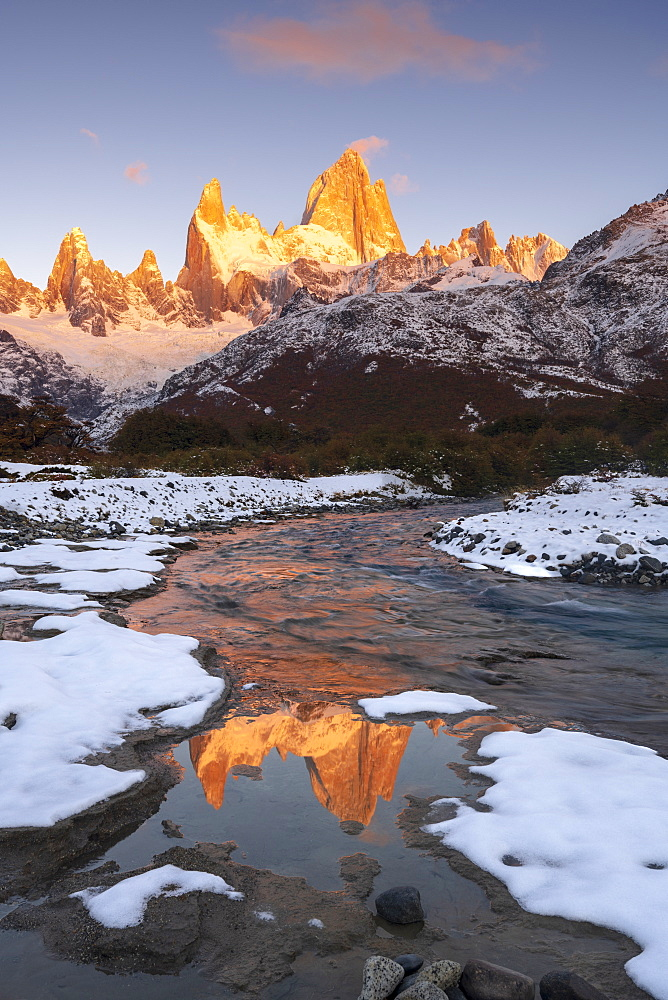 Mount Fitz Roy and Cerro Torre with snow at sunrise reflected, Los Glaciares National Park, UNESCO World Heritage Site, El Chalten, Santa Cruz Province, Patagonia, Argentina, South America
