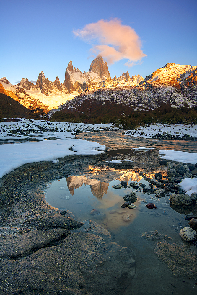 Mount Fitz Roy at sunrise reflected in flowing river, Los Glaciares National Park, UNESCO World Heritage Site, El Chalten, Santa Cruz Province, Patagonia, Argentina, South America - 1306-264