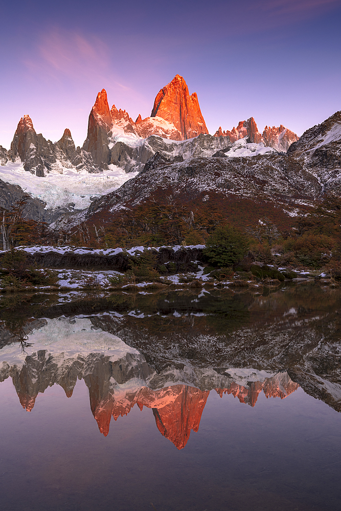 Mountain range of Cerro Torre and Fitz Roy at sunrise reflected, Los Glaciares National Park, El Chaltén, Patagonia, Argentina