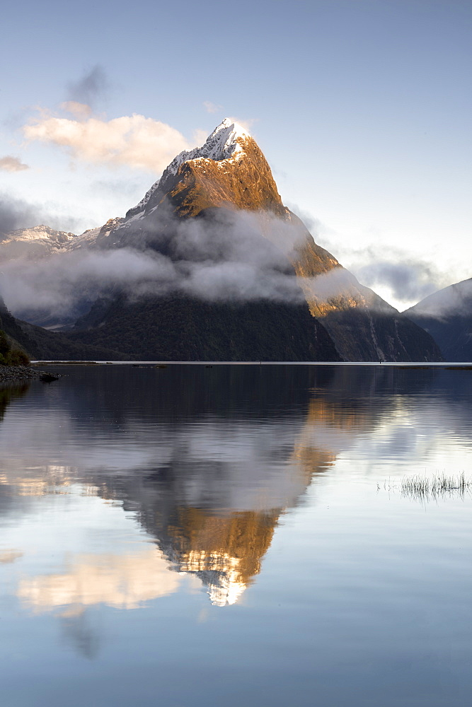 Mitre Peak reflected at Milford Sound, Fiordland National Park, UNESCO World Heritage Site, South Island, New Zealand, Pacific