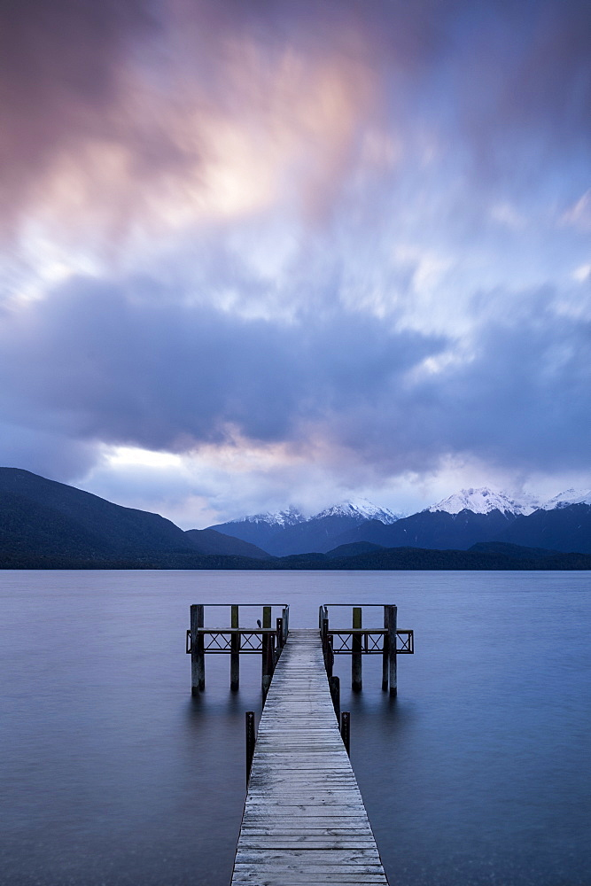 Te Anau jetty with lake and mountain, Southland, South Island, New Zealand, Pacific
