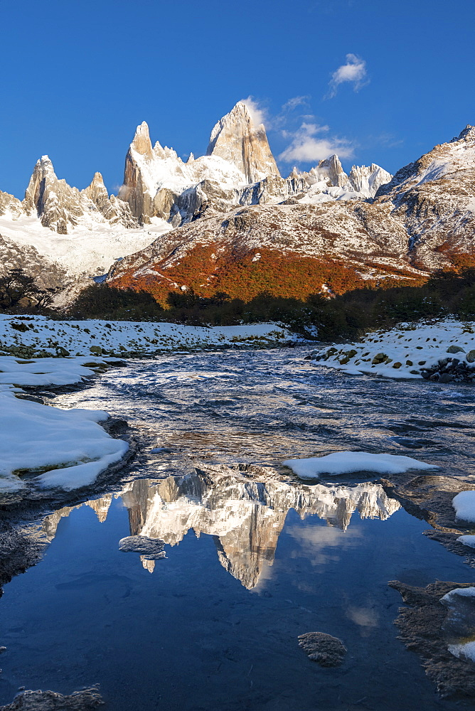 Mountain range with Cerro Fitz Roy reflected, Los Glaciares National Park, UNESCO World Heritage Site, El Chalten, Santa Cruz Province, Patagonia, Argentina, South America